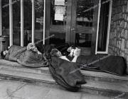 UK Subs fans.   Punks.  Sleeping outside band's hotel.